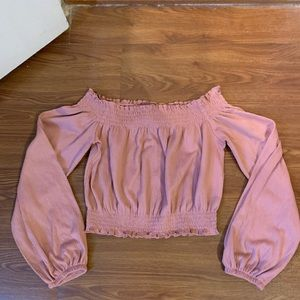 Divided xsmall rose colored off shoulder shirt